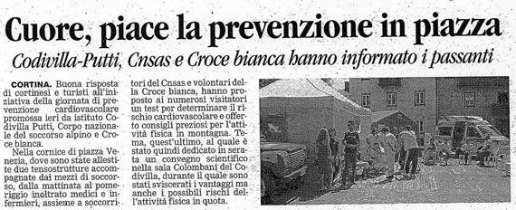 Corriere delle Alpi, sabato 3 agosto 2008