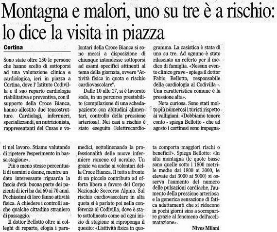 Il Gazzettino, sabato 3 agosto 2008